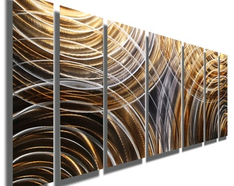 Bold Brown, Silver & Charcoal Earth-Tone Fusion Modern Abstract Metal Wall Art Sculpture -Unique Handmade Painting - Emboldened by Jon Allen