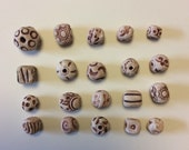 20  handmade mixed brown clay beads,