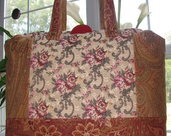 Shabby Roses Carpet Bag Tapestry Extra Large Tote Bag Overnight Bag Travel Tote Dark Rust Red Tan Oversized Bag Paisley Rose Super Size Red