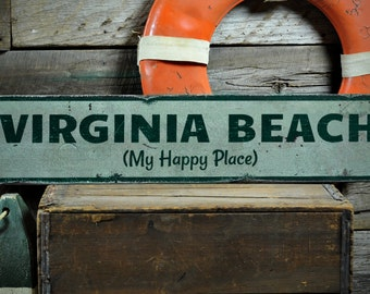 My Happy Place Sign, Personalized Beach Sign, Ocean Lover Decor, Beach Decor, Beach Sign - Rustic Hand Made Vintage Wooden Sign ENS1001226