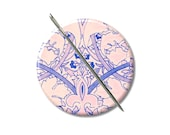 Jacobean design Pink Blue needle minder magnet cross stitching sewing tool sewing notion wife gift under 10 stocking stuffer