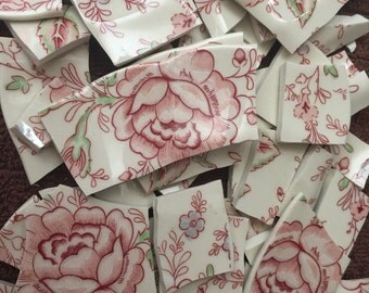 100 Mosaic Tiles Tesserae Broken Plates DIshes Art Supply Crafts Hand Cut Pink Roses Flowers 100 Chintz