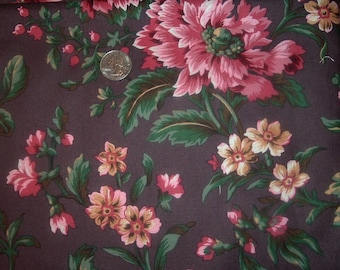 Quilt Fabric Destash Large Floral on Dark Background Westminster By the Yard