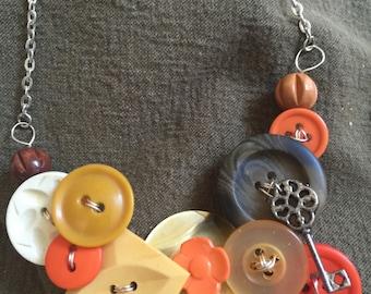Vintage Button Bib Necklace