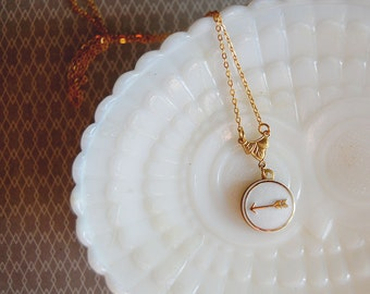 vintage milk glass and gold arrow necklace- brass gold plated chain