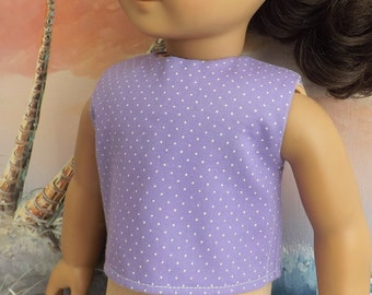 18 Inch Doll Clothes Lavender Pin Dot Modified Crop Top NEW Style