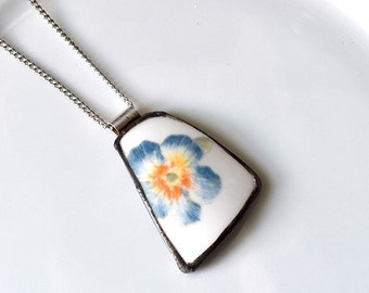 Broken China Jewelry Pendant - Blue Flower