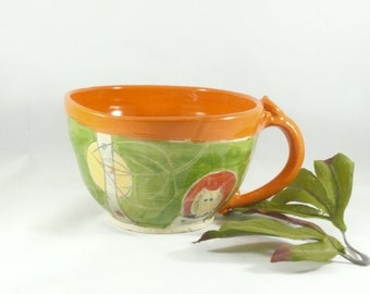 Ceramic Soup bowl with handle / handmade latte mug or wheel-thrown Latte Cup with owl , pottery and ceramics, cappucino mug 522