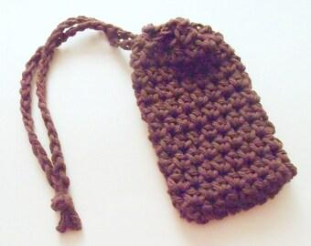 Cotton Crochet Soap Saver, Brown Crochet Soap Saver, Crochet Soap Sack, Crochet Soap Bag, Ecofriendly, Reusable