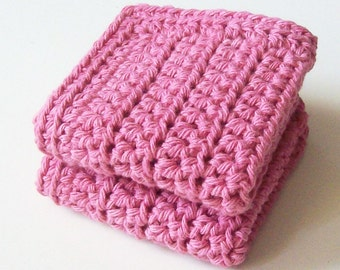 Cotton Crochet Dishcloths, Pink Crochet Dishcloths, Cleaning Cloth, Ecofriendly, Reusable, Set of 2, Crochet Washcloths