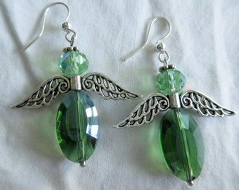 Angel Earrings, of Light Green and Emerald Green Crystals With Silvertone Wings