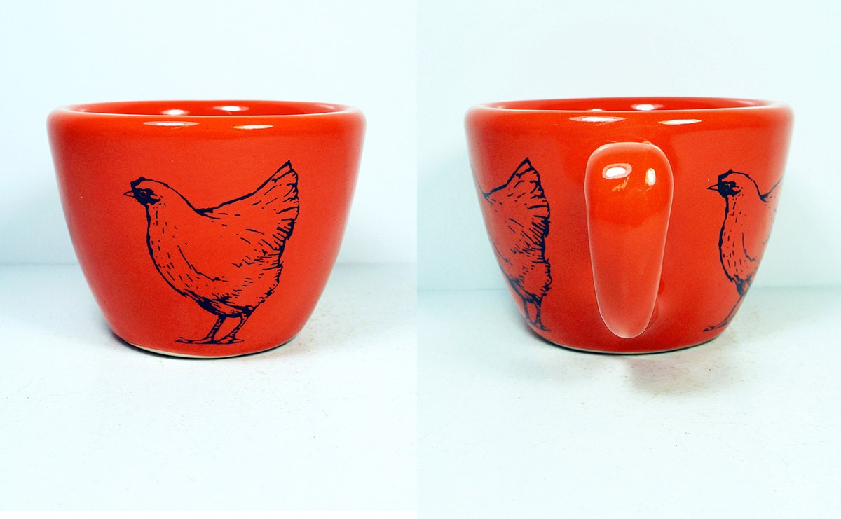 12oz cup with a Chicken print, shown on Clementine glaze - Made to Order/ Pick Your Colour