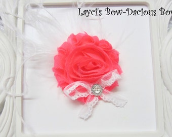 Neon Pink {Ellie} Flower Hair Clip, flower clip, shabby flower, neon pink flower, more colors available