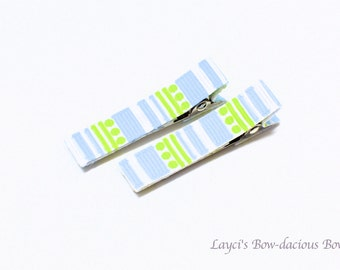 Blue and Green Striped Hair Clips, no slip clips, baby girl clips, toddler clips