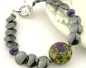 Black hematite Sage green Lampwork Sterling Bracelet - mystic scales purple brown