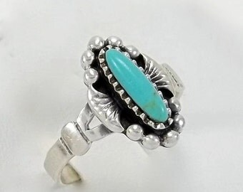 Vintage Sterling Silver Turquoise Ring Native American Old Pawn Ring Size 6.75