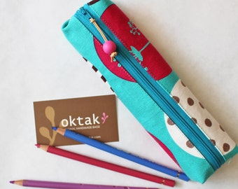 Pencil case zipper pouch - modern turquoise blue and hot pink pencil case, white gray aqua blue student school teacher gift
