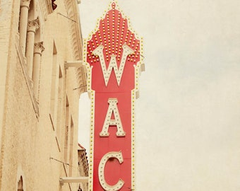 downtown waco texas hippodrome, vintage sign photograph, red home decor,  home theatre art, travel photography