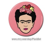 "Frida Kahlo Pin Pinback 1.25"" or 2.25"" Button or Frida Art Portrait Jewelry Badge"