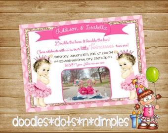 Personalized  Printable Twincess Birthday Invitation