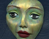 Polymer Clay Large  Abstract One of a Kind Detailed  Face  Un Drilled LDFB 1