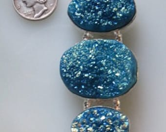 Blue with Green Titanium Druzy 3 Crystal Quartz Cabs 28mm x 80mm Silverplate Pendant with Bail