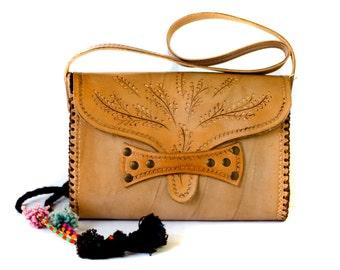 Hand Tooled Leather Bag - Tooled Leather Handbag - Boho Leather Bag - Hippie Leather Bag
