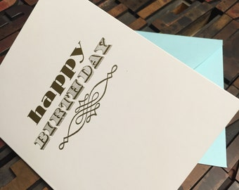 Quilline Birthday Letterpress Card - Individual Card
