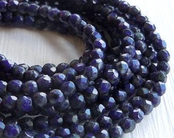 Czech 2mm Beads -  Faceted Round Czech Glass Beads Opaque Navy Picasso - 50 pcs (G - 66)