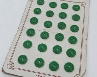 Vintage French Nouveaute Buttons - Sheet of 24 Green Plastic Buttons