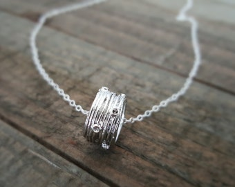 Silver Ring and Sterling Silver Necklace, Large Textured Ring Pendant Sterling Silver Necklace