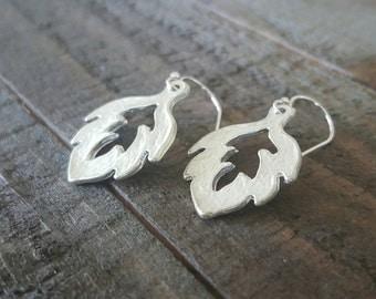 Silver Leaf Earrings, Sterling Silver Leaf Earrings, Leaf Earrrings