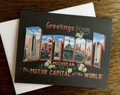 Greetings From Detroit Card - Motor Capital of the World #6  - Blank Inside