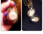 """Watch Necklace - Brass Pocket Watch Necklace - quote Im Nobody, Who Are You - Jane Austen 1.75"""" round - 30 inch long- Real working watch"""