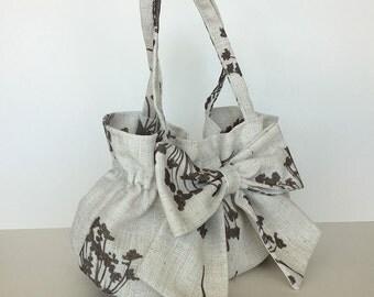 summer bow bag  Floral cotton purse Summer fashion Handbag with bow Wife gift  Girls purse  Fabric bag Women handmade handbag Gift for her