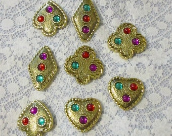 Set of 8 Vintage Button Covers Deck Playing Cards Suit Hearts Spades Diamonds Clubs Early 1990's