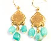 Turquoise Amazonite Chandelier Earrings, Gemstone Chandeliers, Aqua Dangle Earrings