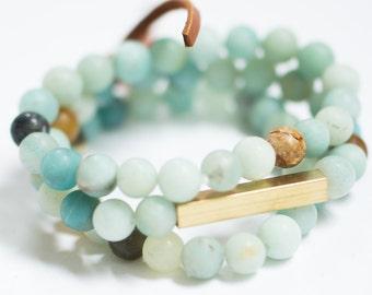 Beaded Amazonite Bar Bracelet, Gemstone Bar Bracelet Set, Beaded Bracelet set