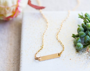 Layering Necklace, Tiny 14K Gold Filled  Bar, Little Gold Bar Necklace, Layering gold necklace, simple gold bar necklace