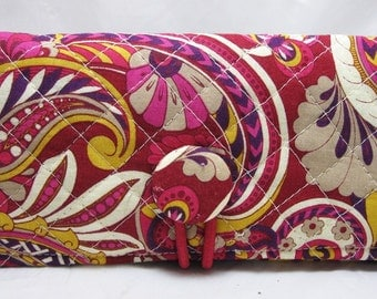 Checkbook Cover Holder QUILTED Purple Carnival
