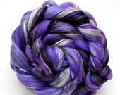 Merino Wool and Silk Blend Combed Top Purples Fine Merino Fiber for Felting or Spinning Yarn Roving