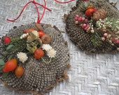 SUNFLOWER HEAD mini WREATH   wall or door decoration for autumn   Red cord 6 inch