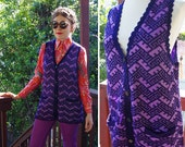Purple Shimmer 1960's 70's Vintage Purple + Lilac Metallic Knit Cardigan Sweater Vest w/ Button Front // size Medium