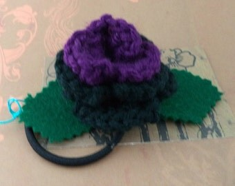 Crocheted Rose Ponytail Holder or Bracelet - Purple and Black (SWG-HP-ZZ16)