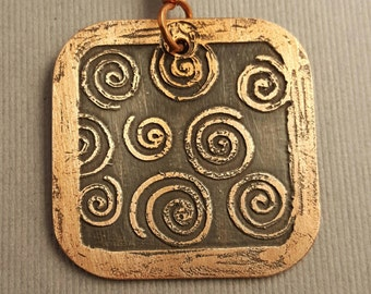Copper Rounded Square with Spirals Within Pendant