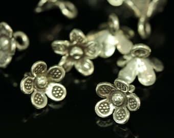 4KH-057 thai karen hill tribe silver 4 flower charm