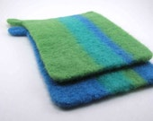 Felted wool potholders - wool hot pads - pot holder set - cerulean, spring green and mint