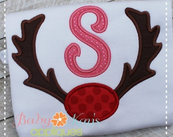 Antlers with Nose Applique Design 4x4, 5x7, 6x10, 8x8