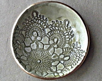Ceramic Lace Ring Bowl Trinket bowl pale Sage green  gold edged