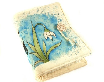 Snowdrop, Handmade journal, painted notebook